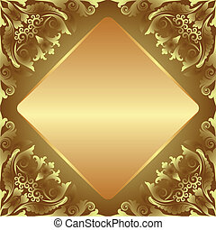 golden background decorated floral ornaments