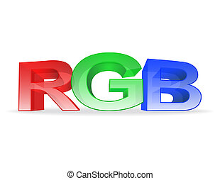the letters rgb on white background