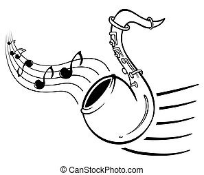 Sax music - Design with music notes and sax on illustration