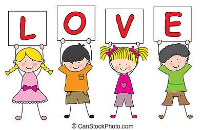 crianças, sinal, dizendo, Amor