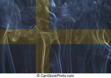 Sweden flag overlay on smoke. - Sweden flag overlay on smoke...