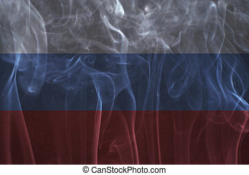 Russia flag overlay on smoke. - Russia flag overlay on smoke...