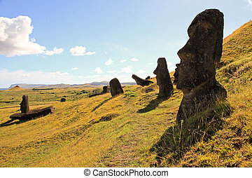 Stately Moai on Easter Island - Moai in the Quarry on Easter...
