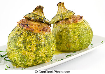zucchini stuffed with meat  - dish with meat and vegetables
