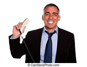 Professional person smiling with a phone