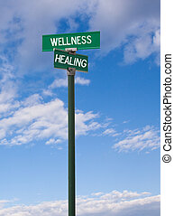 Wellness-Healing Sign - The intersection of wellness healing...