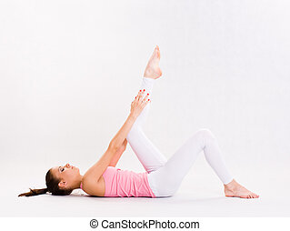 Flexible young yoga girl - Portrait of a flexible young yoga...