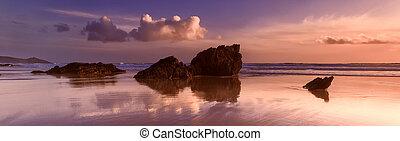 Reflections on Whitsand Bay, Cornwall, UK - Sunset...