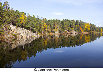 Reflection in a lake - Lake with reflections of trees in...