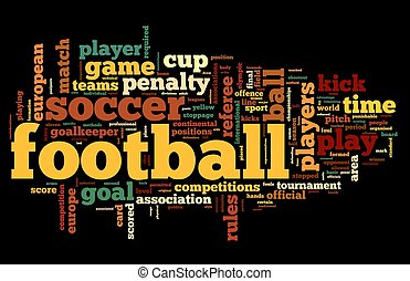 Football concept in word tag cloud