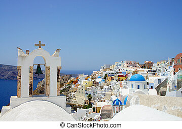 Oia, Santorini island - Small white wonderful houses of...