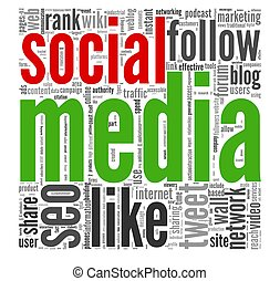Social media in tag cloud - Social media concept in word tag...