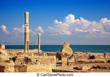 ruins of Antonine Baths at Carthage, Tunisia - ruins of...