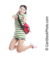student girl jumping and good hand gesture - Excited student...