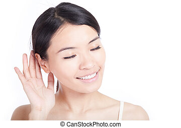 woman listen by ear isolated on white background, model is a...