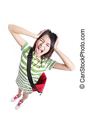 Young girl student screaming and pulling hair - Young...