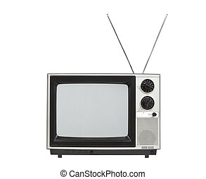 Old Portable Television with Antennas Isolated