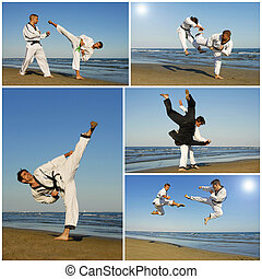 taekwondo - training of aikidofor young men on the beach