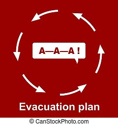 Emergency evacuation plan on red background