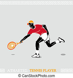 Athletes tennis player - Greek art stylized tennis player...