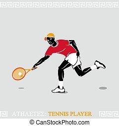 atletas, tenis, jugador