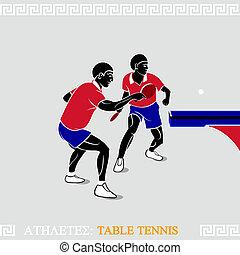 atletas, tabla, tenis