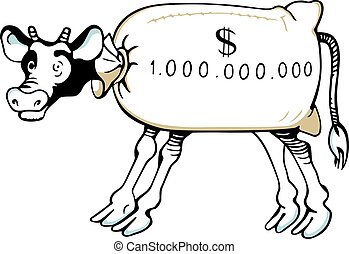 Cash cow on white background
