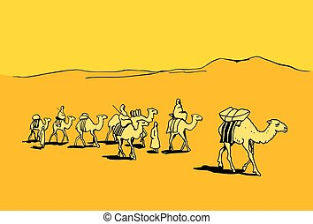 Camel caravan in the desert on color background