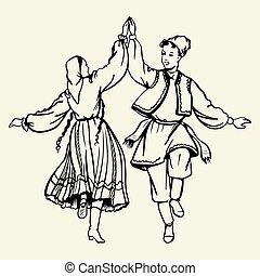 Dancing couple wearing traditional dress