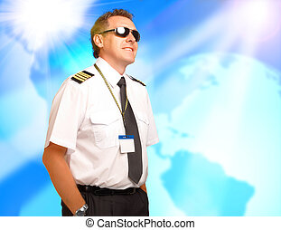 Airline pilot wearing uniform with epaulettes