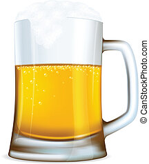 Beer mug with bubbles made with gradient mesh