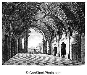 Hall of an old abandoned palace