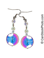 Earrings made of colored glass on a white background