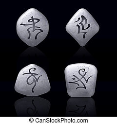 Runic Stones with Magical Spells. Set number Five on black