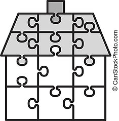 house from puzzles - vector illustration