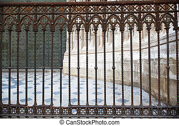 Cast-iron Fence Cathedral Seville - the cast iron fence at...