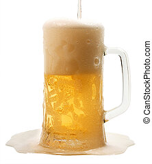 lager - pour a mug of beer isolated on white background