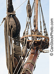 Rigging of an ancient sailing vessel