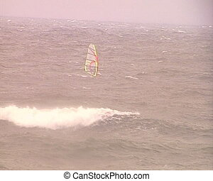 windsurfer sail nasty sea - Brave windsurfers sailing...