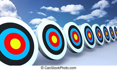 targets and arrows color sky - Many arrows hit to the...