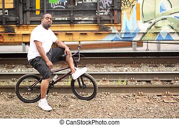 homem, BMX, bicicleta