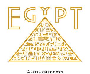 Pyramid of the hieroglyphs - An abstract pyramid with a...