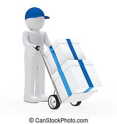 figure supplier push hand truck with gifts