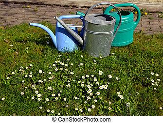 花園, 給能, 噴射, 對象, 草, 工具