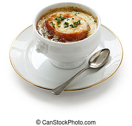 french onion soup - on a white background
