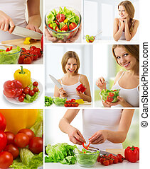 collage healthy food, fresh vegetables, vegetarian menu