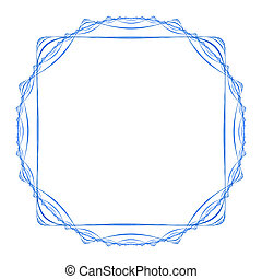 Blue figured frame of square shape isolated on white...
