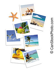 Holidays spirit and pics - open book with starfish outdoor...
