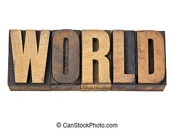 worl word in letterpress wood type