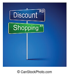 Discount shopping direction road sign.